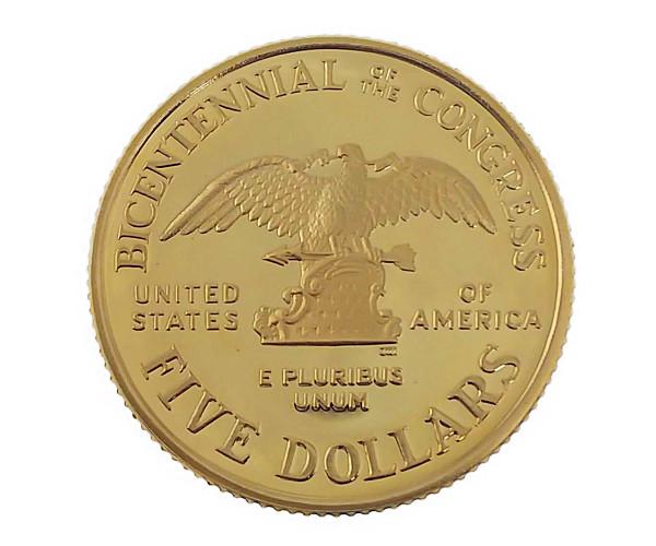 議会200年記念金貨 5ドル K21.6(21.6金)