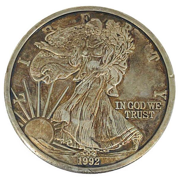 12oz リバティ コイン 1992 Liberty In God we trust United states of america one pound fine silver 12oz アメリカ合衆国造幣局/United States Mint銀貨 Sv1000(純銀・シルバー1000)