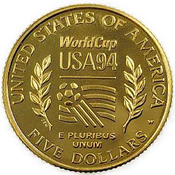 FIFAワールドカップ1994年アメリカ大会記念 鋳造 アメリカ合衆国政府(FIFA World Cup 1994 American Memorial Commemorative Casting United States Government) 金貨 5ドル K21.6(21.6金)