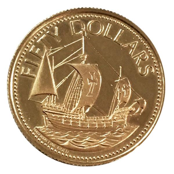 バハマ 帆船・サンタマリア号金貨 50ドル K14(14金)