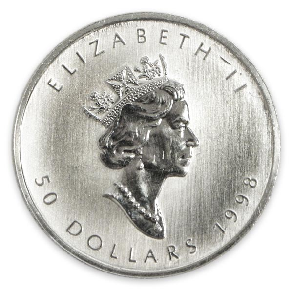 1oz Ptメイプルリーフプラチナ貨 50ドル Pt999(純プラチナ・プラチナ999)