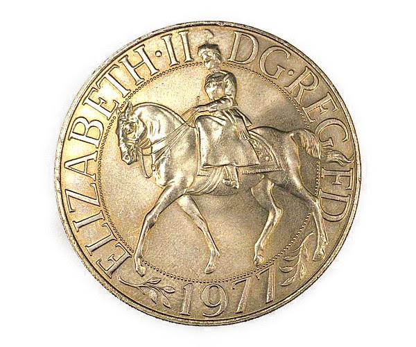 エリザベス2世 女王陛下 御在位25周年記念銀貨 25ニューペンス Sv900(Coin)