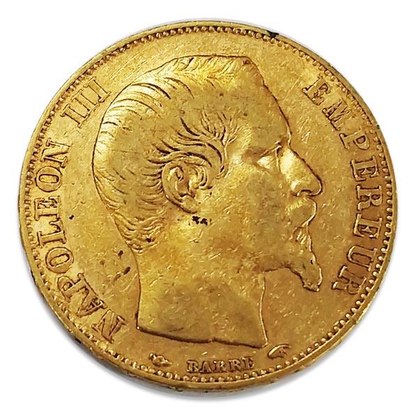 ナポレオン有冠金貨 20フラン K21.6(21.6金)