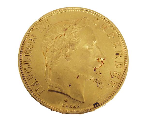ナポレオン有冠金貨 50フラン K21.6(21.6金)