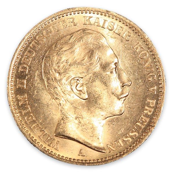 ウイリアム二世(ヴィルヘルム二世)金貨 20マルク K21.6(21.6金)