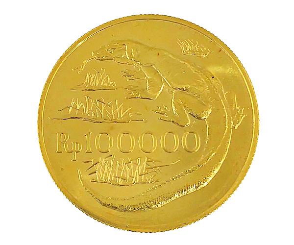 コモドドラゴン 1974年 100000ルピア 金貨 Komodo Dragon 100000 Rupiah金貨 100000ルピア K21.6(21.6金)