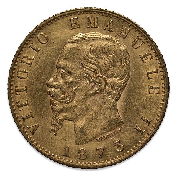 エマヌエーレ2世(エマヌエレ2世)金貨 20リラ K21.6(21.6金)