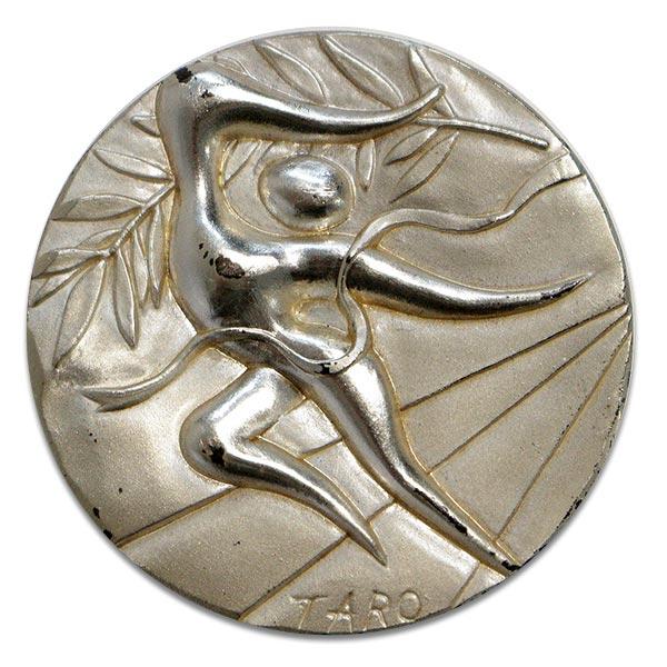 ミュンヘンオリンピック(五輪)純銀 記念メダル・岡本太郎作銀貨 Sv1000(純銀・シルバー1000)