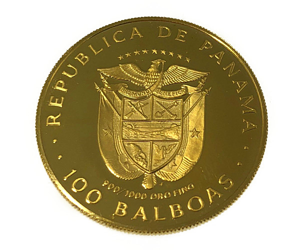 バルボア公生誕500年(肖像)金貨 100バルボア K21.6(21.6金)