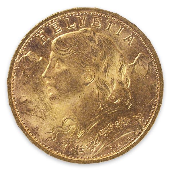 アルプスと少女(ブレネリ)金貨 20フラン K21.6(21.6金)