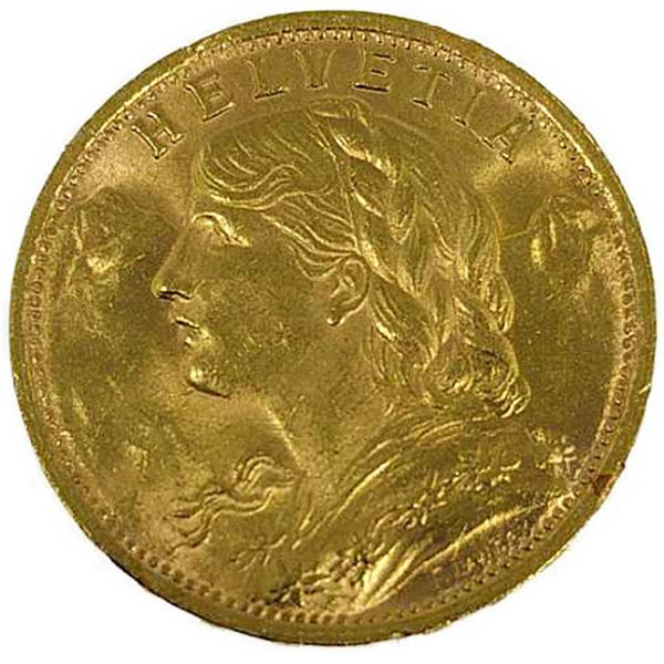 ヘルヴェティア 1941年 20フラン 金貨金貨 20フラン K21.6(21.6金)